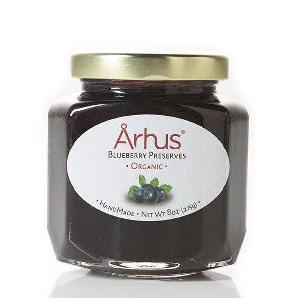 Arhus organic blueberry preserves front of jar